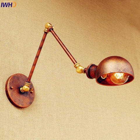 $77.90- Rust Loft style Industrial Wall Light Fixtures Wandlampen Swing Long Arm Vintage Wall Lamp Retro Sconces Appliques LED Pared