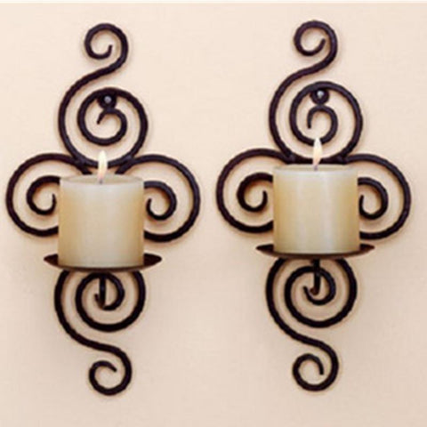 $15.01- Home Candlestick Holders Handmade Iron Hanging Wall Sconce Candle Holder Shelf Furnishing Articles Decoration