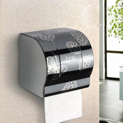 $23.60- Modern Bathroom Accessories Black Painting Surface Brass Toilet Paper Holder Paper Box Wall Mounted
