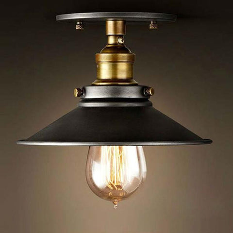 $36.45- Loft Vintage Ceiling Lamp Round Retro Ceiling Light Industrial Design Edison Bulb Antique Lampshade Ambilight Lighting Fixture