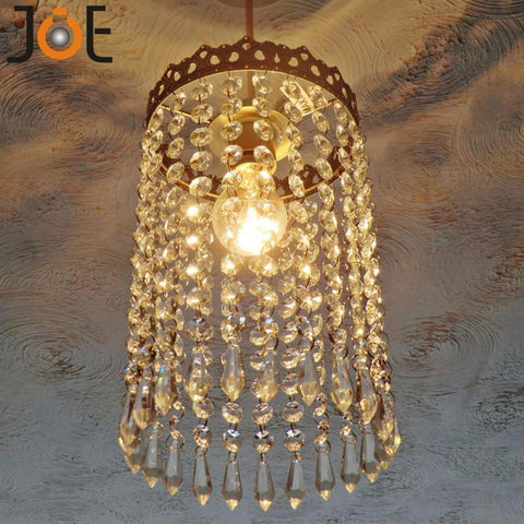 $145.03- New Arrivals Crystal Chandelier Waterfall Lampshade Light Fixtures Vintage Antique Style Decor Lamp For Kitchen Bedroom 9143
