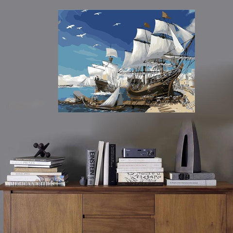 $14.40- Sailboat Painting By Numbers Christmas Gift Seagull Coloring By Numbers On Canvas Diy Hand Painted Wall Art Decor No Frame