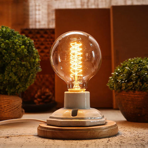 $38.25- Vintage Ceramic Lamp Edison Desk Lamp 40W Personality Decoration Retro Bedside Light For Bedroom Table Light Lamparas De Mesa
