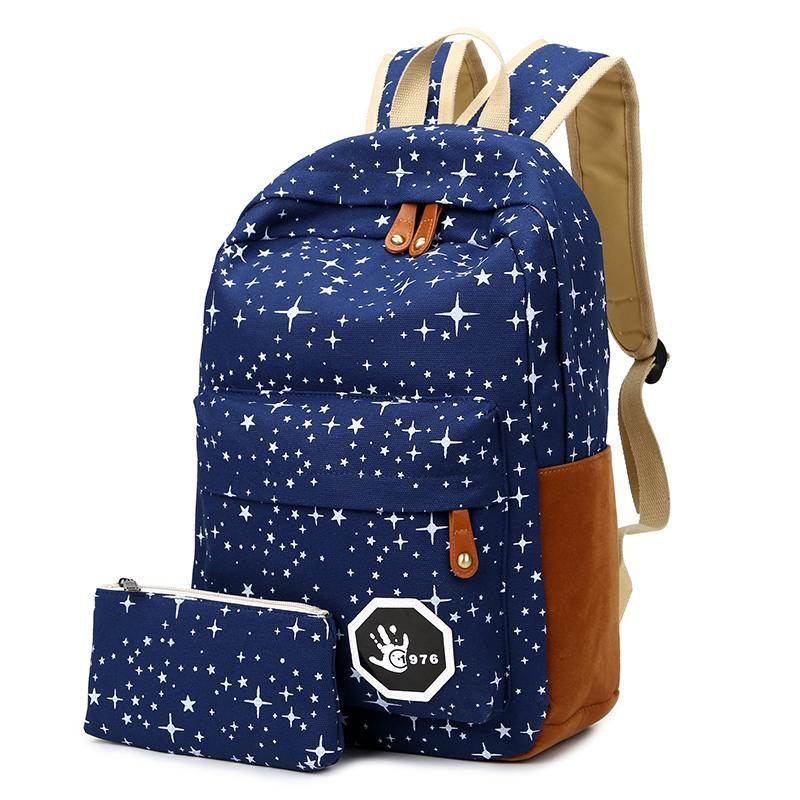 $22.00- 2016 Hot Canvas Women Backpack Big Capacity School Bags For Teenagers Printing Backpacks For Girls Mochila Escolar Apb02