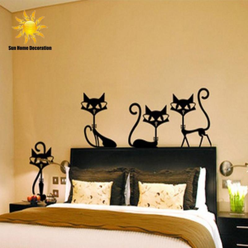 $7.77- 4 Black Fashion Wall Stickers Cat Stickers Living Room Decor Tv Wall Decor Child Bedroom Vinyl Home Decor