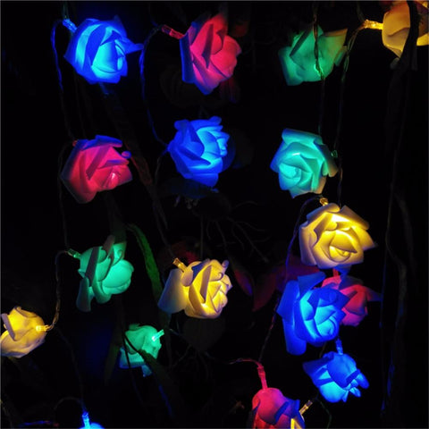 2M Wedding Decoration Rose Flower Led Bouquet String Lights Battery Color Rosa Christmas Festival Party Garden Bedroom Lumiere