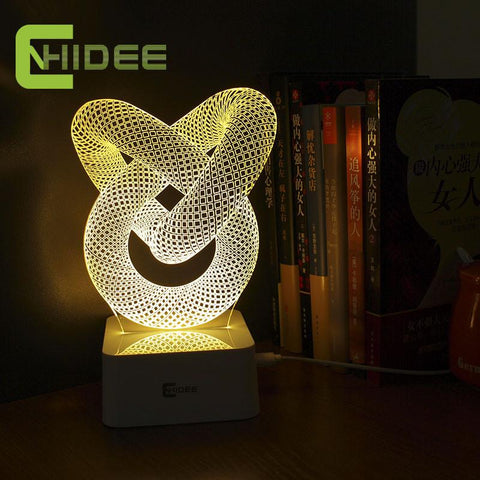 $30.96- Usb Novelty Gift Dimmable 3D Table Lamp Led Night Light Knot Lampara As Home Decor Bedroom Abajur Touch Switch Desk Light