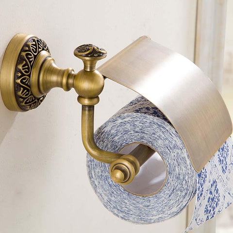 $34.31- New Wall Mounted Bathroom Antique Brass Carving Toilet Paper Holder W/ Cover