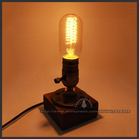 $35.23- Retro Coffee Shop Table Lamp Wood Vintage Desk Lamp Dimmable 40W Edison Bulb 220V Bedroom Bar Table Light Desk Light Wooden