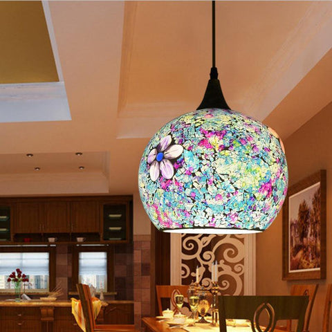 $180.63- Bohemian Style Glass Lampshade Mediterranean Multicolor Corridor For Bedroom SingleHead Pendant Lamp A278