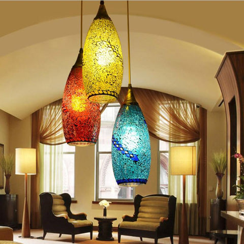 $229.50- Bohemian Style Glass Lampshade Mediterranean Corridor For Bedroom Pendant Lamp A262