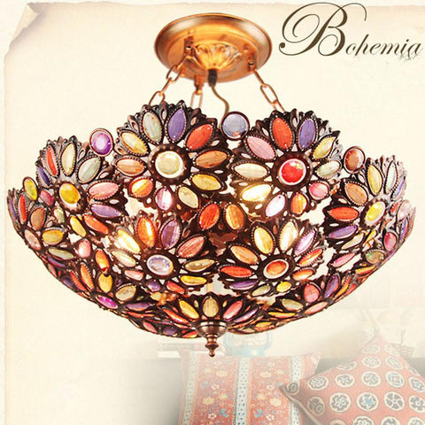 $206.62- Fashion Mediterranean Pastoral Vintage Iron Lustres Crystal Ceiling Light Tiffany Bohemian Bedroom Led Ceiling Lamp