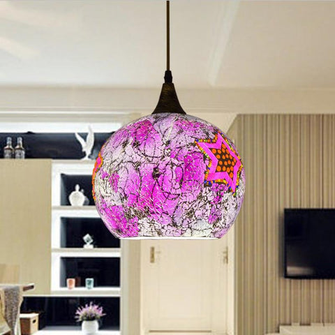 $167.62- Bohemian Style Glass Lampshade Mediterranean Corridor For Bedroom SingleHead Pendant Lamp A258