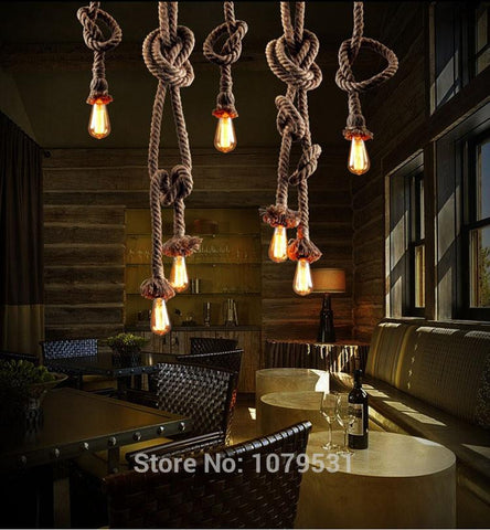 $14.78- Vintage Rope Pendant Light Lamp Loft Creative Personality Industrial Lamp Edison Bulb American Style For Living Room