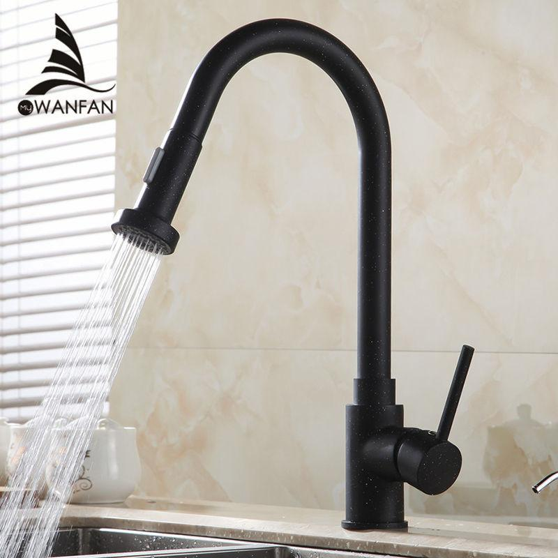 $145.18- Hot Promotion Luxury Black Pull Out Kitchen Faucet Dual Sprayer Spout Sink Mixer Tap Gyd7111R