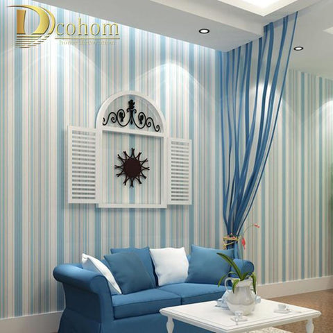 $29.95- Modern Fashion Horizontal White Blue Striped Wallpaper Roll Vertical Kids Child For Wall Living Room Bedroom R107