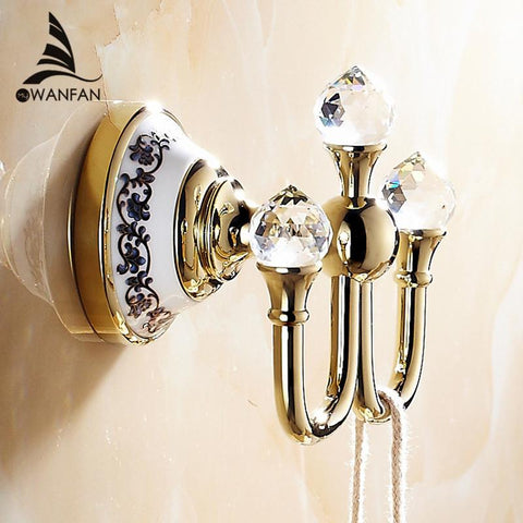 $42.12- Crystal Robe HookClothes Hook Brass Chrome FinishBathroom Hardware Robe HooksBathroom Accessories 6306
