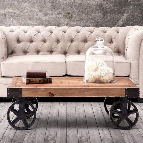 $1589.76- The Classical Fashion Wood Iron Tablemetal Furniturefour Wheels100% Solid Wood Dining Tablemovable Living Room Furniture