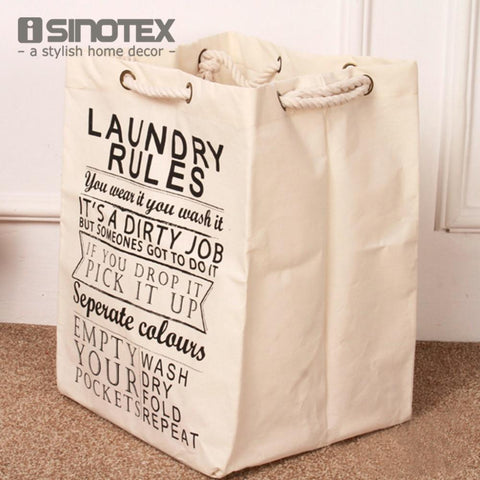 $30.57- 1 Pcs/Lot Foldable Laundry Basket Bag Cotton&Linen Hamper Storage W/ Thick Cotton Rope 49X36.5X34Cm/19.2''X14.3''X13.3''