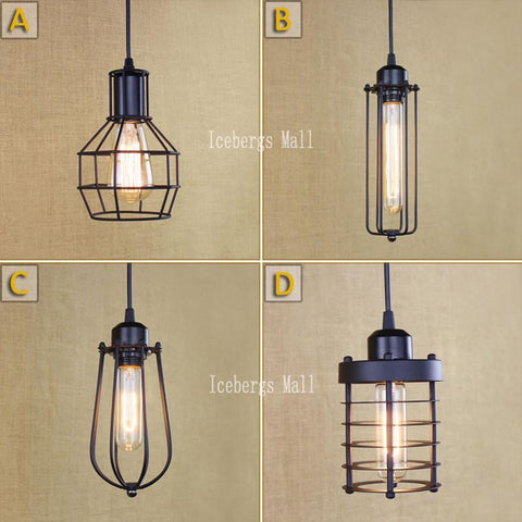 $27.34- Loft Vintage Industrial Retro Pendant Lamp Edison Light E27 Holder Iron Restaurant Bar Counter Attic Bookstore Cage Lamp