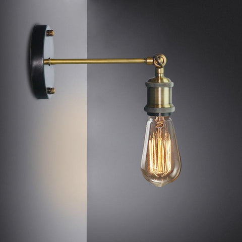 $20.86- Louis Poulsen Sconce Wall Lamp Vintage Loft Wall Light E27 Edison Bulb Plated Iron Retro Industrial Home Lighting Bedside Lamp