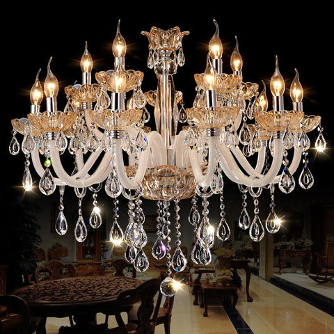 New Luxury Chandelier Lighting Hanging Cord Pendant Lamps Amber Crystal Luminaire For Living Room Lustres De Sala