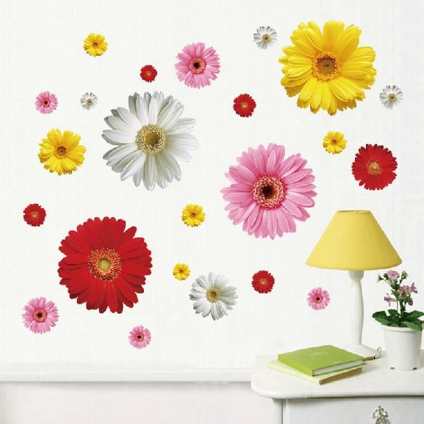 $12.83- 2 Set Removable Pvc Decals 4 Colors Diy Daisy Decorative Flowers Wall Stickers For Art Home Wall Decoration Lm613