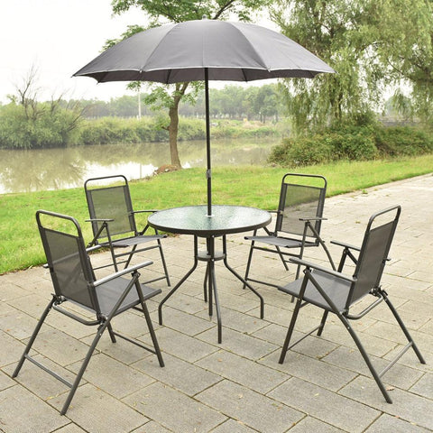 6 Pcs Patio Garden Set Furniture 4 Folding Chairs Table W/ Umbrella Gray New Hw52116