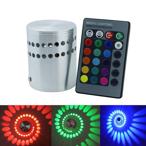 $16.44- Ac85265V Led Wall Lamp Rgb 3W W/ 24Key Remote Controller Lighting Sconce Indoor Decoration Light For Ktv Bar Restaurant