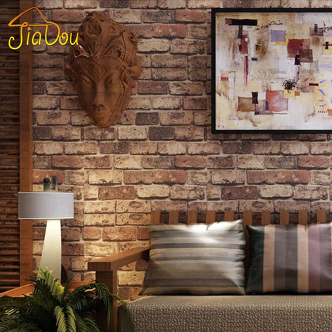 $42.64- Brick Stone Wall Paper Chinese Rustic Vintage 3D Pvc Exfoliator Embossed Washable Wallpaper Livingroom Backdrop Wallcovering 10M