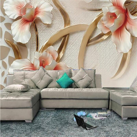 $17.67- Custom 3D Photo Wall Paper Relief Lily Stylish Minimalist Modern European Large Mural For Living Room Wallpaper 3D Painting