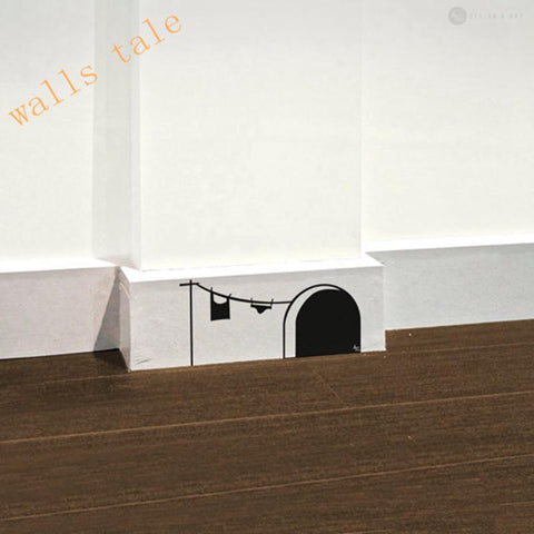$2.83- New Cute Cartoon Mouse Home Sticker Wall Decor Mouse Hole Children Decor Vinyl Sticker Wall Decal
