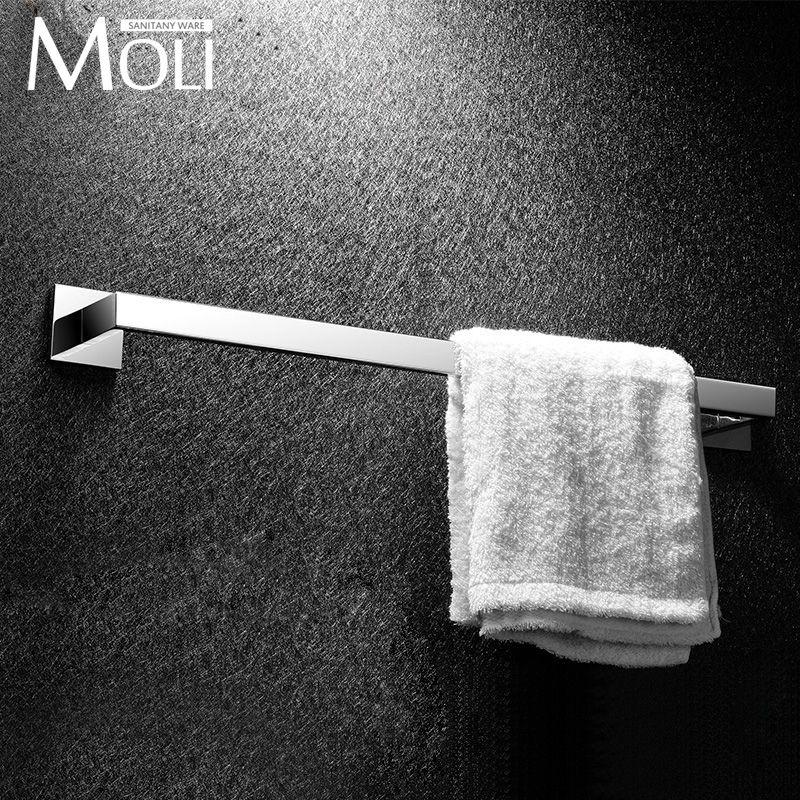 $77.53- Stainless Steel Single Towel Bar Square Towel Rack In The Bathroom Wall Mounted Towel Holder Bathroom Accessories
