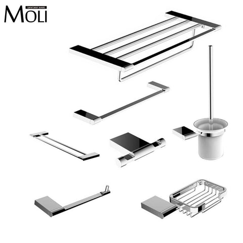 $23.65- Modern Bathroom Accessories Set Wall Mount Chrome Finish Towel Bar Shelf Brush Holder Paper Roll Rack Bath Hardware Sets