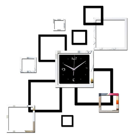 $15.49- 2016 Living Room New Wall Clock 3D Diy Clocks Home Decoration Watch Horloge Murale Quartz Acrylic Mirror Stickers