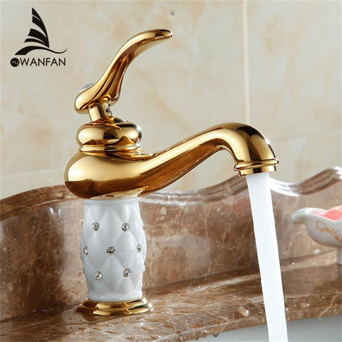 $83.58- Bathroom Basin Gold Faucet Brass W/ Diamond/Crystal Body Tap Luxury Single Handle Hot Cold Tap 7301K