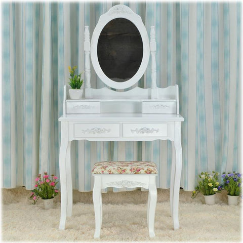 $555.39- Queen Anne White Make Up Table Dresser Vanity Set Swivel Oval Mirror with Stool Bedroom Furniture