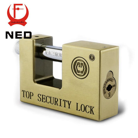 $31.28- Ned E9 Series Archaize Super B Grade Padlocks Safe AntiTheft Lock Rustproof Antique Bronze Top Security Locks For Home Hardware