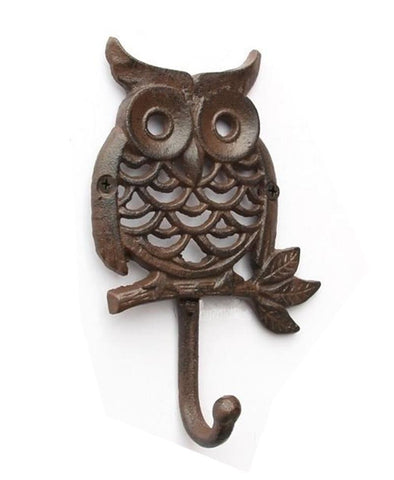 Nordic Village Cast Iron Owl Hook Dress Hat Coat Hanging Hanger Bathroom Robe Hooks Creative Retro Bar Garden Wall Hangings