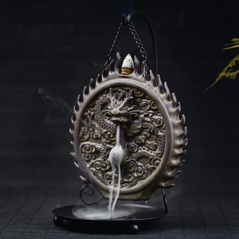 $80.51- Creative Ceramic Backflow Incense Burner Dragon Sculptures Cone Censer Home Decor Incense Holder