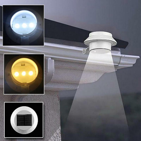 $7.96- Led Solar Sun Light Outdoor Solar Sun Power 3 Led Light Garden Fence Yard Wall Gutter Pathway Lamp Fen#