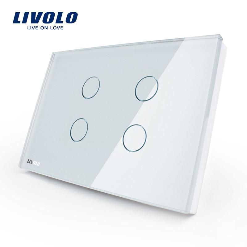$45.13- Livolo Touch Switch Us Standard VlC30481Crystal Glass Panel Wall Light Touch Switch Led Indicator