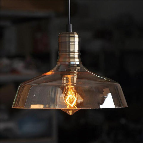$71.55- Vintage Industrial Style Retro Glass Pendant Lights Light Ceiling Lamp W/ Edison Bulb E27 40W 1.5M Cable Ac110V220V 25X14Cm