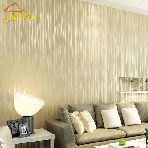 $35.48- NonWoven Wallpaper Plain Minimalist Living Room Warm Solid Vertical Striped Wallpaper Roll Bedroom Wall Paper Tv Backdrop