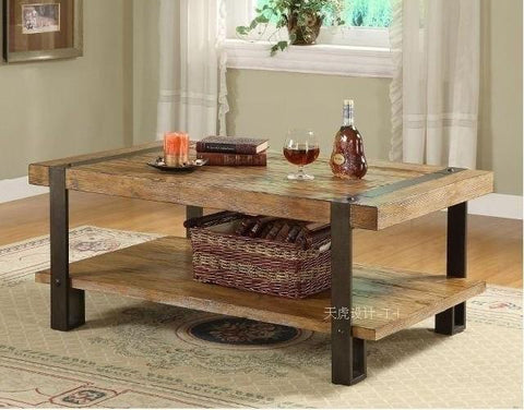 $2069.25- The Village Of Retro FurnitureThe Classical Fashion Wood Iron TableDouble Wood Table Dining TableLiving Room Furniture