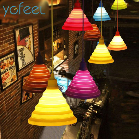 $18.54- Modern Simple Colorful Silicone Pendant Lights Fashion Diy Design Color Children Bedroom Restaurant Pendant Lamp Single Head E27
