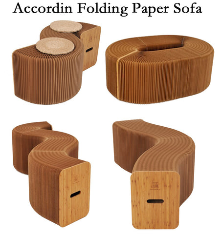 Home Furniture Softeating Modern Design Accordin Folding Paper Stool Sofa Chair Kraft Paper Relaxing Foot  living & Dining Room