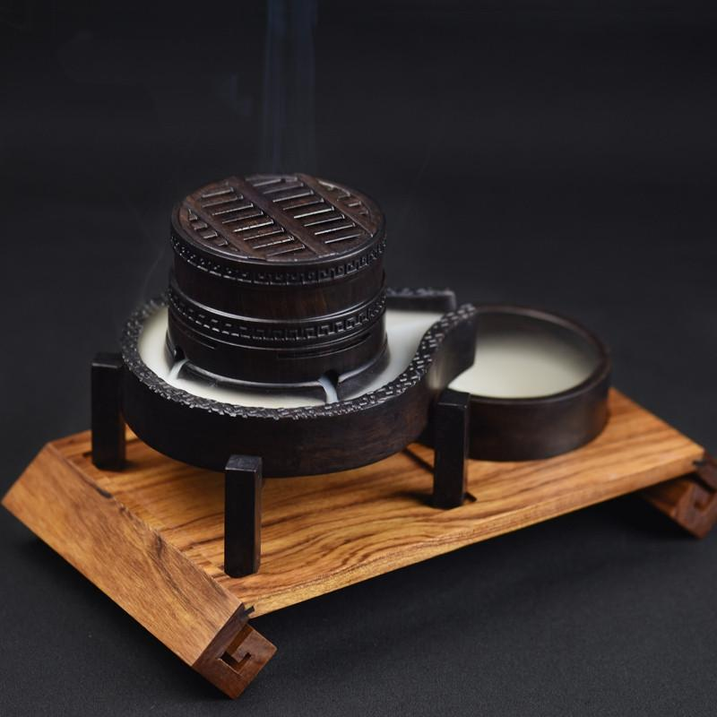 $187.02- Creative Wooden Incense Burner Smoke Backflow Censer Wood Burner Furnace Living Room Coil Incense Holder Home Decor Sandalwood