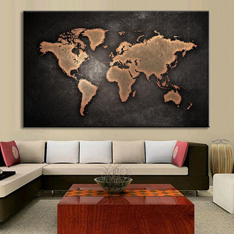 $18.46- 1 Pcs/Set Huge Black World Map Paintings Print On Canvas Hd Abstract World Map Canvas Painting Office Wall Art Home Decor
