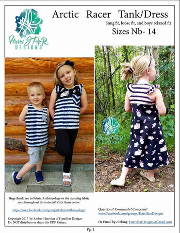 Kids Arctic Racer Tank/Dress- Pdf Pattern